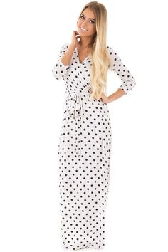 Lime Lush Boutique - Black and White Polka Dot Surplice Front Maxi Dress, $36.99 (https://www.limelush.com/black-and-white-polka-dot-surplice-front-maxi-dress/)#fashion#spring#happy#photooftheday#followme#follow#cute#tagforlikes#beautiful#girl#like#selfie#picoftheday#summer#fun#smile#friends#like4like#pinterestfollowers
