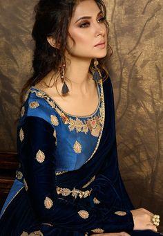 Look stylish with Jennifer Winget Blue Color Silk Designer Anarkali Suit and with a wide range of silk, cotton, satin, linen anarkali punjabi salwar suits Work Fashion, Fashion Advice, Women's Fashion, Anarkali Tops, Anarkali Suits, Jennifer Winget Beyhadh, Floor Length Anarkali, Bollywood Outfits, Indian Wedding Wear