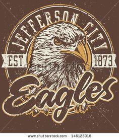 """Retro """"Eagles"""" athletic design complete with retro eagle mascot vector…"""