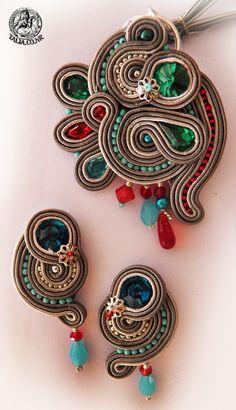 Soutache  set earrings and pendant in Grey by caricatalia.deviantart.com on @deviantART