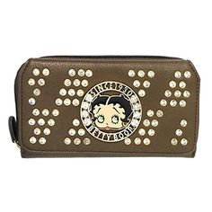 Betty Boop brown golden Rhinestones woman zipper coin bil...…