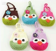 Cute - New Arrival Hand Knitting OWl Handbag Bags Kids Infant Crochet Handbags… I love to crochet. I love to search out pictures of crochet as inspiration for future projects. I'm always looking for pictures of beautiful things done in crochet. Crochet Flower Hat, Crochet Coin Purse, Crochet Pouch, Crochet Purses, Cute Crochet, Crochet For Kids, Crochet Toys, Crochet Handbags, Kids Bags