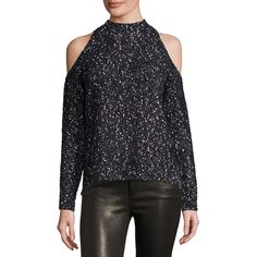 Rebecca Taylor Boucle Cold-Shoulder Mock-Neck Sweater (20.975 RUB) ❤ liked on Polyvore featuring tops, sweaters, black combo, cold shoulder tops, cut-out shoulder tops, long sleeve tops, boucle sweater and pullover sweaters