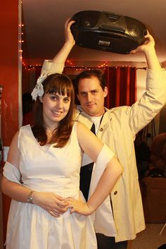 Ryan and I had a blast dressing as Lloyd Dobler and Diane Court for Halloween. And we were even recognized by people at both the parties we. Best Costume Ever, Halloween Costumes, Halloween Ideas, Say Anything, Tulle, Dressing, Sayings, Couples, People