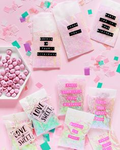 DIY iridescent favor bags for birthday parties and weddings made with iridescent cellophane and with personalized messages using a label maker!