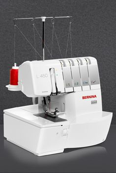 The BERNINA L 450 cuts, sews and finishes in a single step. With high-quality stitches and wave-free seams, it sews quickly and smoothly at any speed. It offers easy and ergonomic threading with the color-coded threading path and a well-lighted, large sewing space.