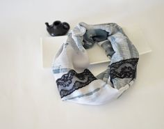 Black Gray Tones Colored Infinity Scarf with 2 by designscope, #ReddApple #Designscope