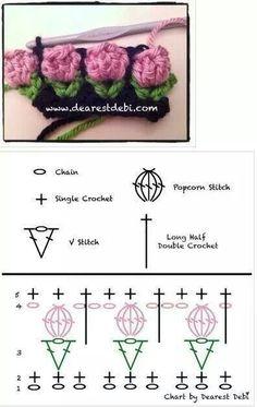 "tulp haaksteekje - tulip crochet stitch (Bees and Appletrees) this is a crochet diagram for the - tulip crochet stitch crocrochet: ""Crochet flower bud, chart by Debi "" Deze is wel heel erg leuk! A Collection of Crochet Flower Stitch Free Patterns: cro Crochet Borders, Crochet Flower Patterns, Crochet Diagram, Crochet Stitches Patterns, Crochet Chart, Crochet Motif, Crochet Designs, Crochet Flowers, Crochet Granny"