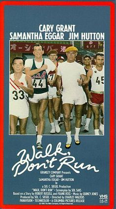 Walk Don't Run (1966) Directed by Charles Walters, starring Cary Grant, Samantha Eggar, Jim Hutton, and George Takei. During the housing shortage of the Summer Olympic Games in 1964 Tokyo, a distinguished British businessman and an Olympic athlete are forced to share a tiny apartment with a forthright American woman. Cary Grant's last feature film.