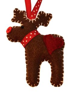 """""""Marcel the Moose"""" - He's 4.5 inches tall, sewn felt, has a button nose, and is stuffed with a polyester fill – he'd love to adorn your Christmas tree!"""