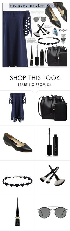 """""""Rosegal - Dresses Under $100"""" by dora04 ❤ liked on Polyvore featuring Marc Jacobs, Christian Louboutin, Ray-Ban, Palm Beach Jewelry and under100"""