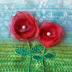 Unique handmade 5 inch square organza flower card  by StitchMikki