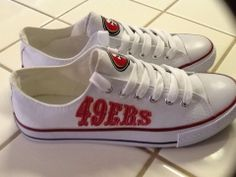SAN FRANCISCO   49ers WOMANS Tennis Shoes Best Football Team, Football Baby, 49er Shoes, Converse High Heels, 49ers Nation, Forty Niners, 49ers Fans, Football Outfits, Cute Outfits For Kids