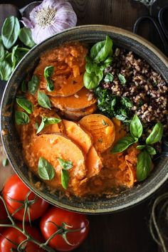STEAMED SWEET POTATOES with WILD RICE, BASIL + TOMATO CHILI SAUCE