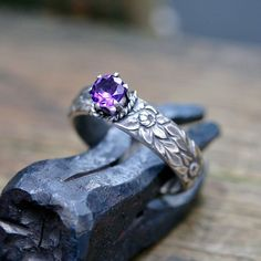 sterling silver etched amethyst ring $90.00
