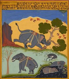 Les éléphants. Gouache and gold on paper, India, Mewar, ca. 1725–1750