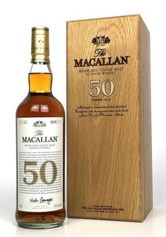 Macallan 50 Year Old ( release 2018 ) Cigars And Whiskey, Scotch Whiskey, Bourbon Whiskey, Whiskey Bottle, Fun Drinks, Alcoholic Drinks, Rum Beer, The Distillers, Champagne Drinks