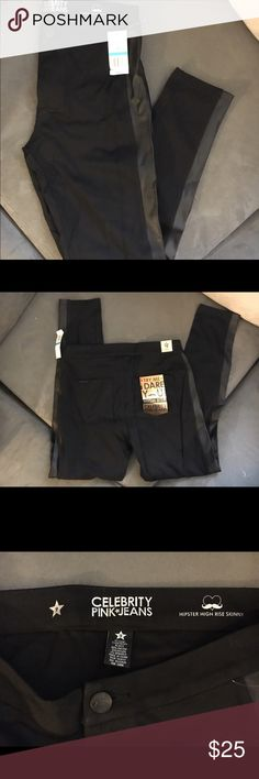 BLACK LEATHER JEANS Size 9 in Juniors. NWT. Black super soft jeans with leather down the sides. Super cute. Jeans Skinny