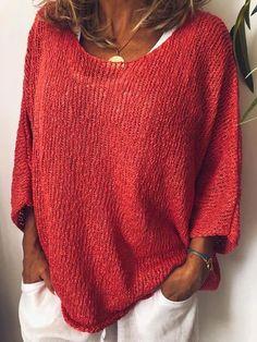 Bes women bohemian blouses dresses sweaters&cardigans for plus size and petit Plus Size Sweaters, Casual Sweaters, Winter Sweaters, Casual Tops, Sweaters For Women, Oversized Sweaters, Vintage Sweaters, Cozy Sweaters, Pullover Sweaters