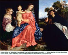 Madonna col Bambino tra i Santi Caterina e Domenico e il donatore (Tiziano Vecellio, 1513 circa, Fondazione Magnani Rocca, Mamiano di Traversetolo, Parma)