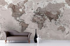 Neutral Shades World Map Wallpaper Mural... could definitly order a smaller size, apply to wood and rub down for a distressed art piece!!