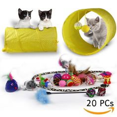 RIO Direct Cat Toys Kitten Toys Variety Pack Cat Tunnel Interactive Feather Toy Cat Feather Teaser Wand Fluffy Mouse Crinkle Balls and Bells 20 Pack Gift Set for Cat Puppy Kitty * Click picture to evaluate more details. (This is an affiliate link). Cat Cages, Kitten Toys, Cat Tunnel, Catnip Toys, Dog Supplies, Crinkles, Wands, Sunglasses Case, Feather