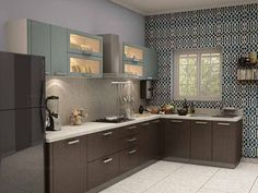 Know the functionally efficient of modular kitchen design in L shaped. Kitchen Design Open, Kitchen Cabinet Design, Kitchen Layout, Interior Design Kitchen, Kitchen Decor, Kitchen Ideas, Kitchen Designs, Moduler Kitchen, Interior Ideas
