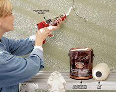 Caulk stucco cracks Elastomeric paint for stucco.