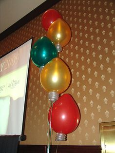 Balloon Christmas lights- This is such a cute idea for a Christmas party...