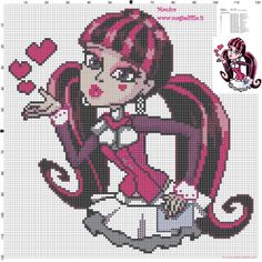 Draculaura Monster high cross stitch pattern (click to view)
