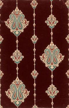 Beautiful dark burgundy vintage wallpaper straight out of French Chateau Textile Patterns, Textile Prints, Textile Design, Textile Art, Print Patterns, Textiles, Hand Embroidery Designs, Embroidery Patterns, Pattern Art