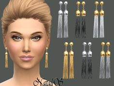The Sims Resource: Chain tassel earrings by NataliS_ • Sims 4 Downloads
