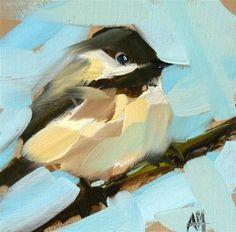 """""""two chickadees no. 6"""" - Original Fine Art for Sale - © Angela Moulton:"""
