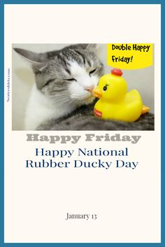 """Today is National Rubber Ducky Day! In 1970, Jim Henson performed the song """"Rubber Duckie"""" as Ernie on Sesame Street, and the rubber duck bath toy has been an iconic American symbol ever since. Rubber ducks have been around since the rise of the rubber industry in the late 1800s, but no one knows their exact origin.  Happy TGIF and Rubber Ducky Day!"""