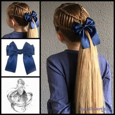 Haarstrik satijn glans in de kleur blauw Feathered braids into a ponytail with a gorgeous big bow fr Princess Hairstyles, Little Girl Hairstyles, Pretty Hairstyles, Braided Hairstyles, Hairstyle Braid, Feather Braid, Girl Hair Dos, Toddler Hair, Hair Today