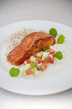 Tandoori salmon portion, spiced rice and cucumber mint salsa. #HuonSalmon