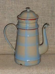 Scarce Vintage FRENCH Enamelware COFFEE BIGGIN - 1930's - Blue & creamy white