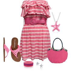 """pink sundress"" by missy-smallen on Polyvore"