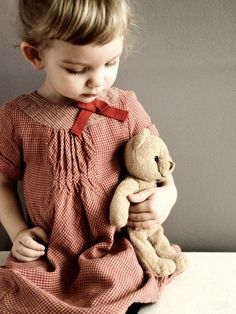 Red & Cream... Little Girl and Her Teddy