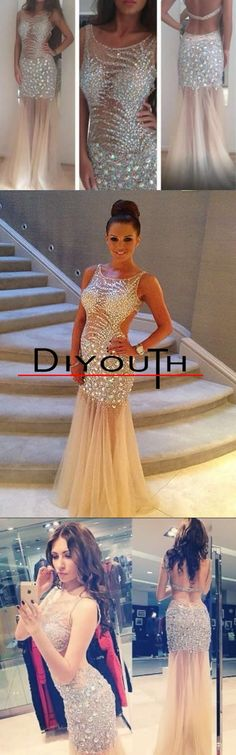 Diyouth.COM New Arrival Sexy Beading Prom dress Custom Long Tulle Party Gown,Tulle prom dresses,beaded homecoming dresses, sexy graduation dresses, tulle evening dresses, backless party dress, open back cocktail dress