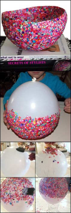 How To Make A Bowl From Confetti's theownerbuilderne. Looking for something creative for the kids to make? Try this easy to make confetti bowl for their first project! Could this be your next project with the kids? Crafts For Kids To Make, Crafts For Teens, Projects For Kids, Kids Crafts, Craft Projects, Arts And Crafts, Craft Ideas, Cute Crafts, Easy Crafts