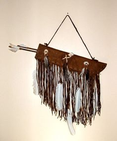 Native American Wall Hangings little scout leather quiver & 2 arrows native american wall