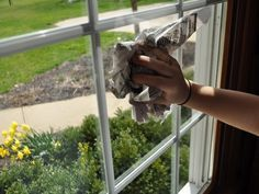 My neighbor's house always had the clearest windows EVER! One day I helped her with some spring-cleaning. She didn't use a single paper towel or commercial cleaner but mixed 2 cups hot water with ¼ cup vinegar & 1 TBS of cornstarch, shook in spray bottle & spritzed the windows, then wiped down w/ crumpled newspaper. Unlike paper or cloth towels, newspaper is absorbent without leaving lint behind. This homemade window wash solution w/ newspaper works like NOTHING else for PERFECTLY CLEAR…
