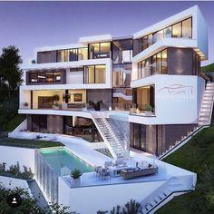 Dream Home Design, Modern House Design, Dream Mansion, Fancy Houses, Modern Mansion, Luxury Homes Dream Houses, Mansions Homes, Modern Architecture House, Dream House Exterior