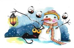 Original watercolor painting whimsical Stressie Cat crow bird snowman lantern #IllustrationArt
