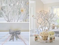 Rustic Winter Wonderland... Could spray paint tree branches white, or white with silver glitter.