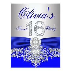 Sweet Sixteen Birthday Party Invitation Diamonds Purple and Silver Sweet 16 Party Card 16th Birthday Decorations, Silver Party Decorations, Sweet 16 Decorations, Sweet Sixteen Invitations, Party Invitations, Invitation Cards, Invitation Ideas, Royal Blue And Gold, Blue And Silver