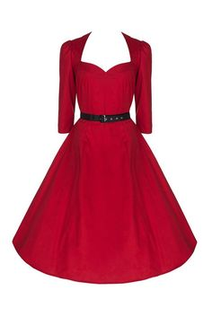 50s Red Belted 3/4 Sleeve Cotton Swing Dress