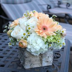 Gerbera daisies, roses, hydrangeas and more in a wood box.  $49.00