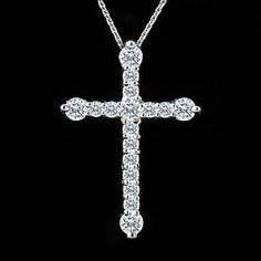 Diamond Cross Pendant Necklace 14K White Gold. $499.00, via Etsy.